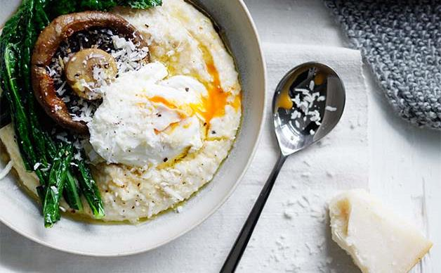 Soft polenta with poached egg and parmesan recipe