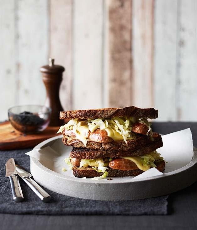 "**[Pork sausage and Swiss cheese on toasted rye with sauerkraut](https://www.gourmettraveller.com.au/recipes/browse-all/pork-sausage-and-swiss-cheese-on-toasted-rye-with-sauerkraut-12788|target=""_blank"")**"