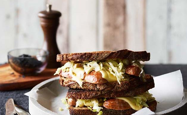 Pork sausage and Swiss cheese on toasted rye with sauerkraut recipe