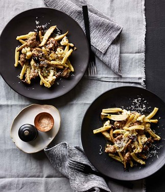 Casarecce with sausage and mushrooms recipe