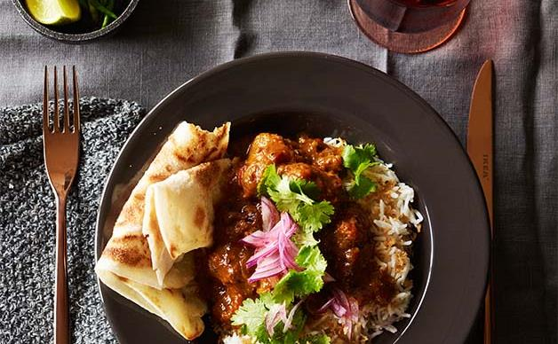 Beef sausage curry with coconut rice recipe