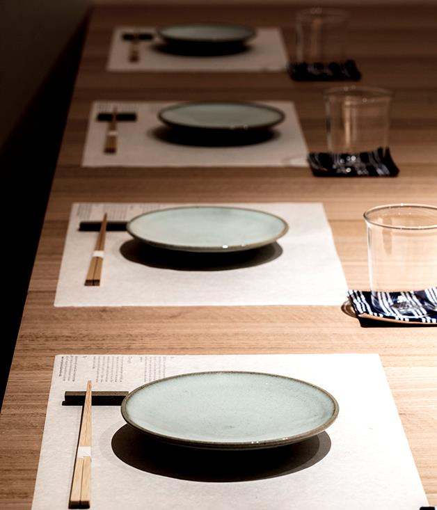**Table setting at Sasaki** Table setting at Sasaki with plates imported from Shimane, Japan.  _Photo by:Brett Boardman_