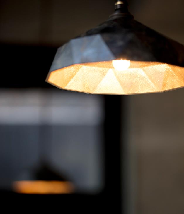 **Light fitting at Sasaki** The light fittings throughout the restaurant were part of Sasaki's shipment of artisan interiors from Shimane Prefecture to Sydney.  _Photo by:Brett Boardman_