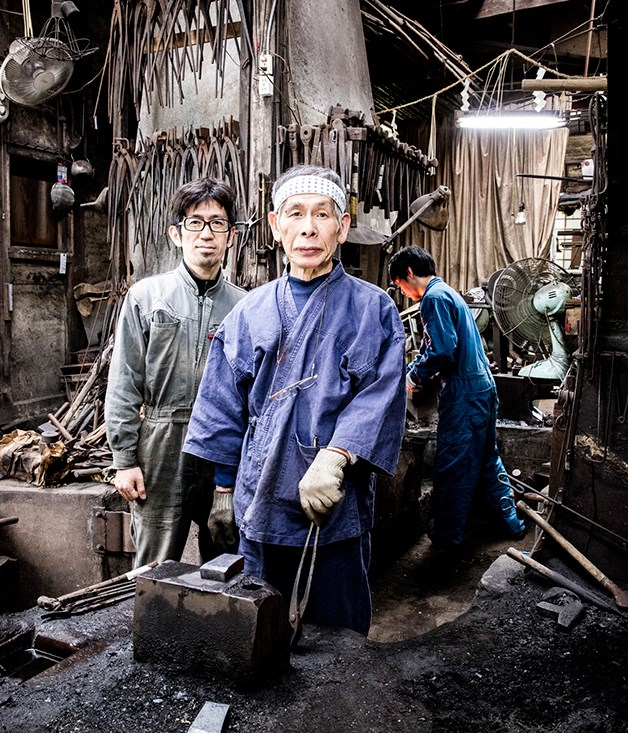 **Kaji Kobo Hiromitsu workshop** The iron candleholders and coat hooks in the restaurant were forged by blacksmith Kaji Kobo Hiromitsu. The studio dates back to the 1830s and once produced samurai swords.   _Photo by: Brett Boardman_