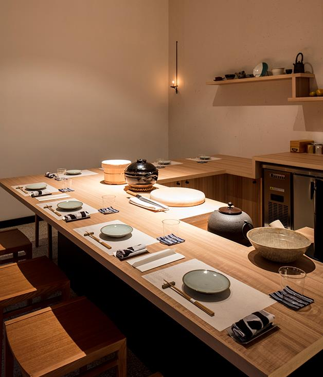 **Sasaki's one-of-a-kind wooden tables** Included in the final shipment from Japan were one-of-a-kind restaurant tables made by Sasaki's father's woodwork teacher.  _Photo by:Brett Boardman_