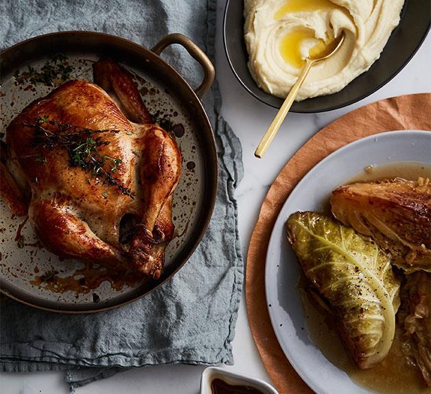Epocha's roast chicken, braised Savoy cabbage, prune and butter sauce