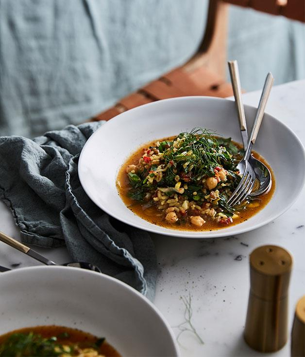 """**[Iberia's caldoso with legumes and vegetables](https://www.gourmettraveller.com.au/recipes/chefs-recipes/iberias-caldoso-with-legumes-and-vegetables-9318