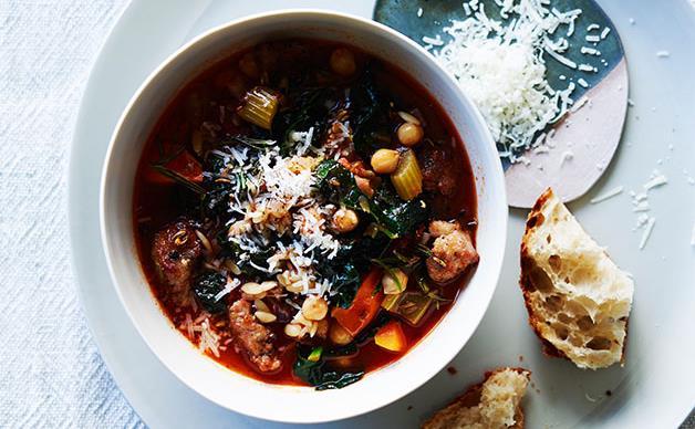 Sausage, cavolo nero and chickpea minestrone
