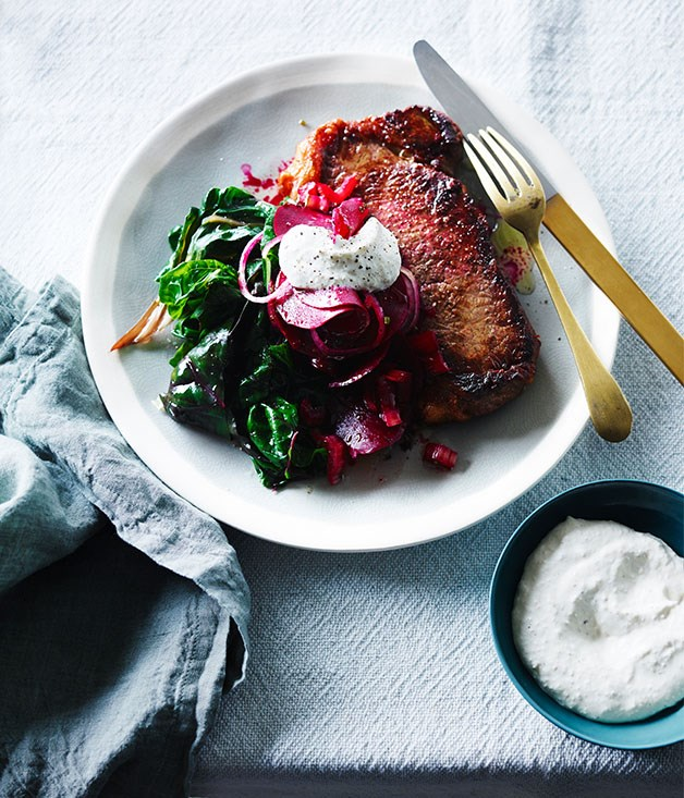 Steak with sweet and sour beetroot and horseradish crème fraiche