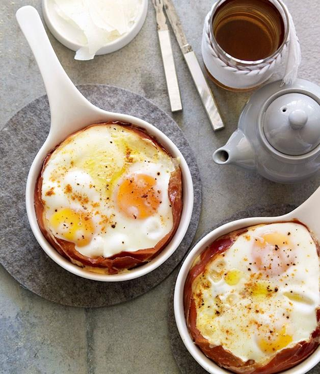 "[**Jamón and Manchego baked eggs**](https://www.gourmettraveller.com.au/recipes/browse-all/jamon-and-manchego-baked-eggs-10068|target=""_blank"") These quick jamón and manchego baked eggs make the first meal of the day easy."