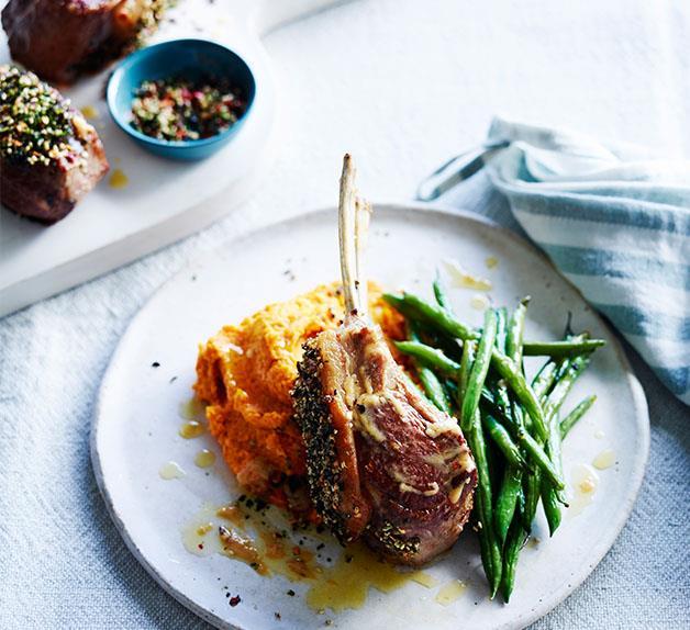 Furikake lamb rack with carrot-ginger puree