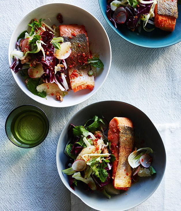 Crisp-skin trout with grapefruit, walnut and radicchio salad