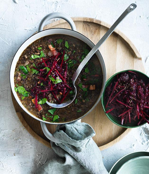 "**[Lentil and speck soup with beetroot slaw](https://www.gourmettraveller.com.au/recipes/browse-all/lentil-and-speck-soup-with-beetroot-slaw-12812|target=""_blank"")**"