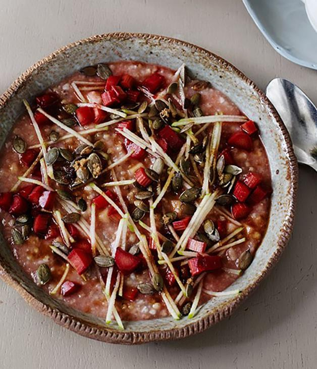 "[**Five-grain porridge with rhubarb and apple**](https://www.gourmettraveller.com.au/recipes/chefs-recipes/five-grain-porridge-with-rhubarb-and-apple-8089|target=""_blank"") This gluten- and dairy-free recipe is packed with grains setting you up for the day and leaving you feeling satisfied (and maybe that little bit smug)."