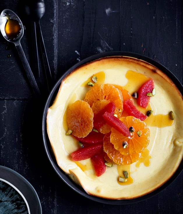 Baked ricotta cream with mandarin caramel