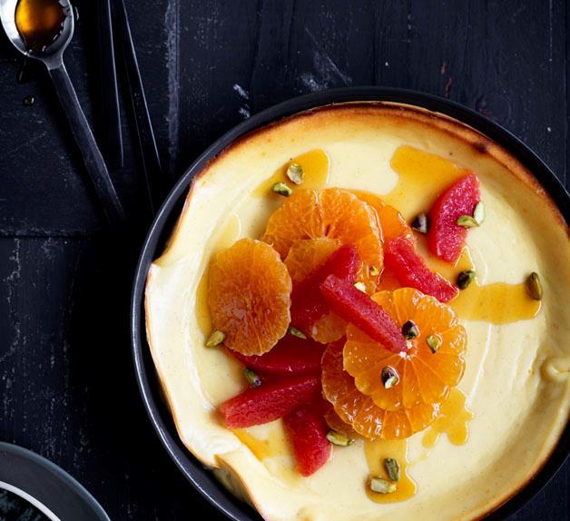 Baked ricotta cream with mandarin caramel