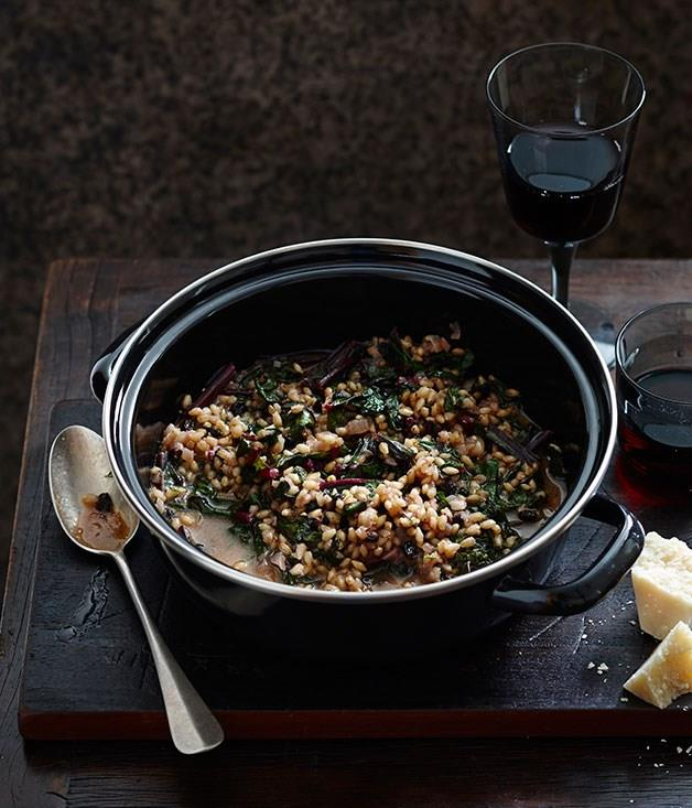 """**[Barley with beetroot greens](https://www.gourmettraveller.com.au/recipes/fast-recipes/barley-with-beetroot-greens-13491