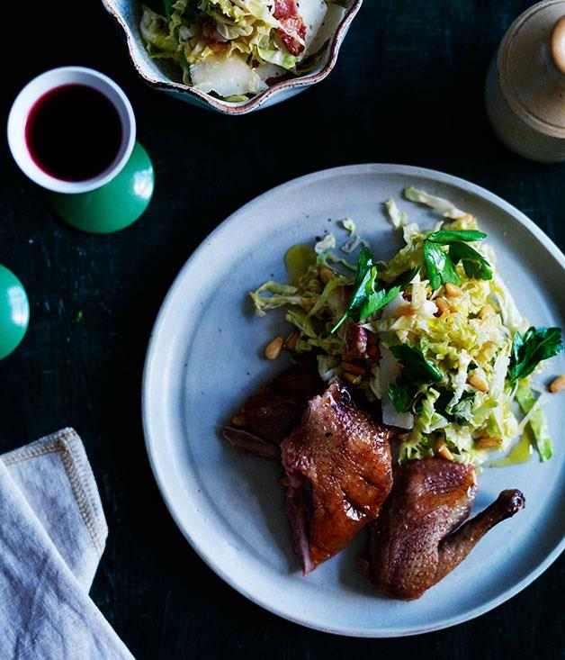 """**[Pigeon with pancetta, cabbage and pine nut salad](https://www.gourmettraveller.com.au/recipes/browse-all/pigeon-with-pancetta-cabbage-and-pine-nut-salad-11918