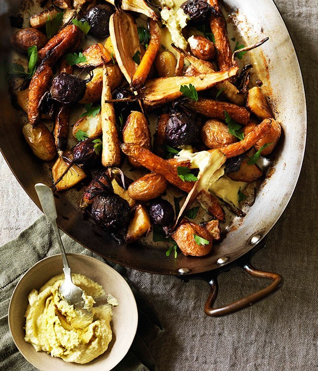 "**[Root vegetables roasted in goose fat](https://www.gourmettraveller.com.au/recipes/browse-all/root-vegetables-roasted-in-goose-fat-11033|target=""_blank"")** Goose fat optional, depending on how strong your fortunes are."