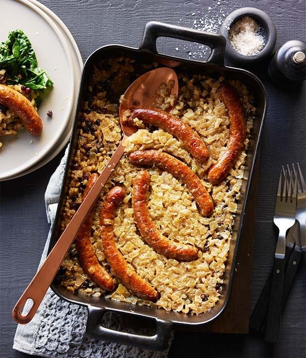 """**[Sausages braised with barley](https://www.gourmettraveller.com.au/recipes/browse-all/sausages-braised-with-barley-currants-lemon-and-silverbeet-12795