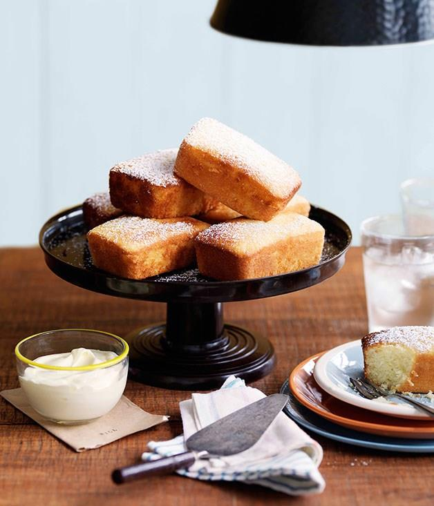 """**[Meyer lemon and olive oil cakes](https://www.gourmettraveller.com.au/recipes/chefs-recipes/meyer-lemon-and-olive-oil-cakes-9017
