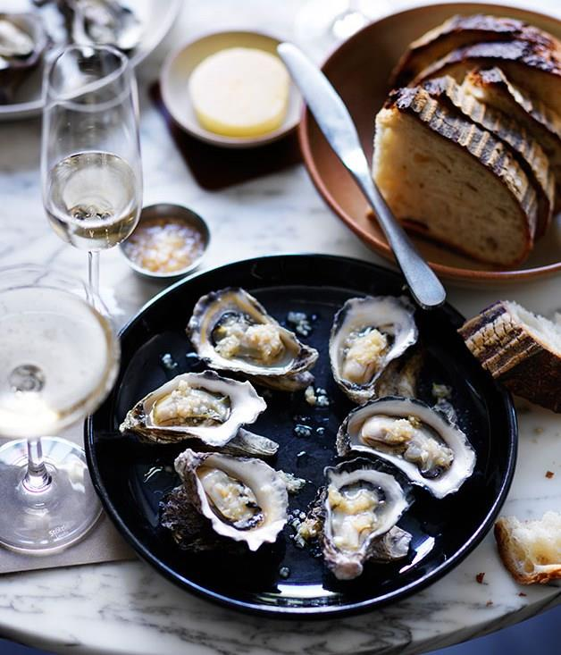 """**[Roast oysters with horseradish](https://www.gourmettraveller.com.au/recipes/chefs-recipes/roast-oysters-with-horseradish-8036