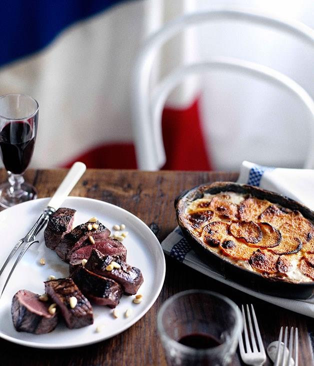 """**[Roast venison with swede and potato gratin infused with pine nuts](https://www.gourmettraveller.com.au/recipes/chefs-recipes/shane-osborn-roast-venison-with-swede-and-potato-gratin-infused-with-pine-nuts-7413