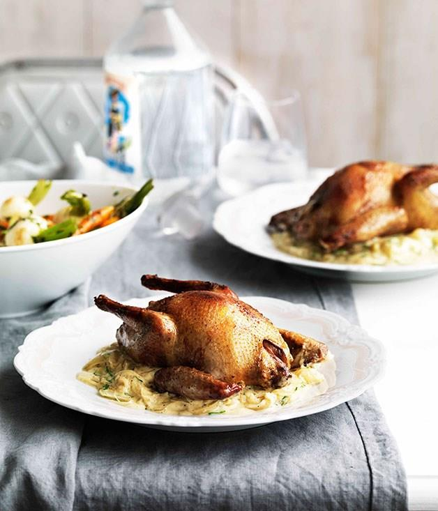"""**[Squab braised with juniper](https://www.gourmettraveller.com.au/recipes/browse-all/squab-braised-with-juniper-10710