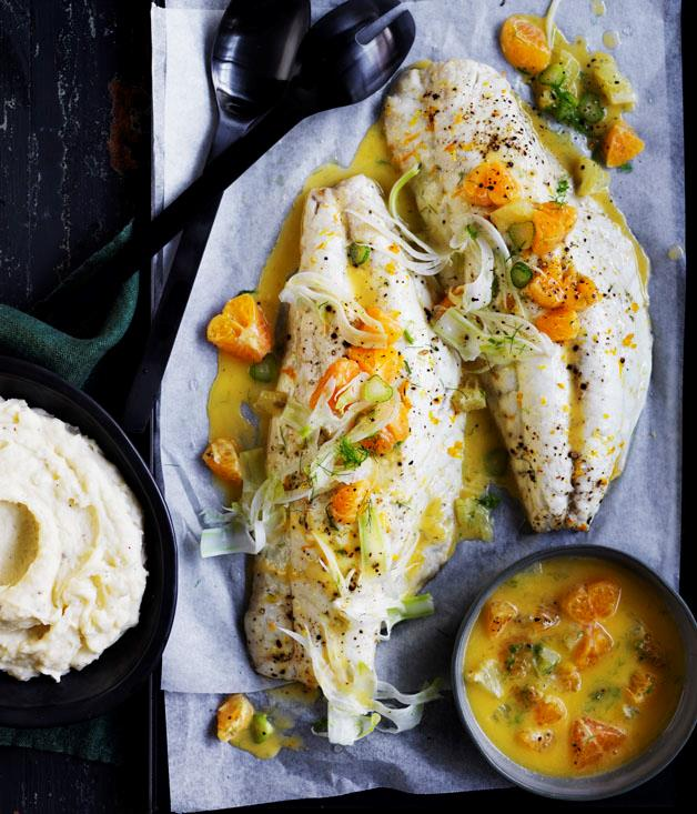 """**[Roast snapper with mandarin and fennel sauce](https://www.gourmettraveller.com.au/recipes/browse-all/roast-snapper-with-mandarin-and-fennel-sauce-12816