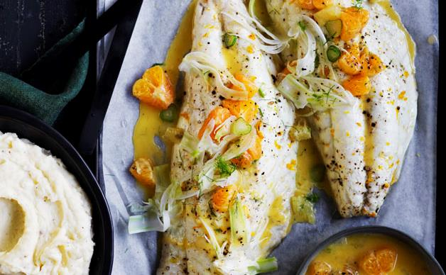 Roast snapper with mandarin and fennel sauce