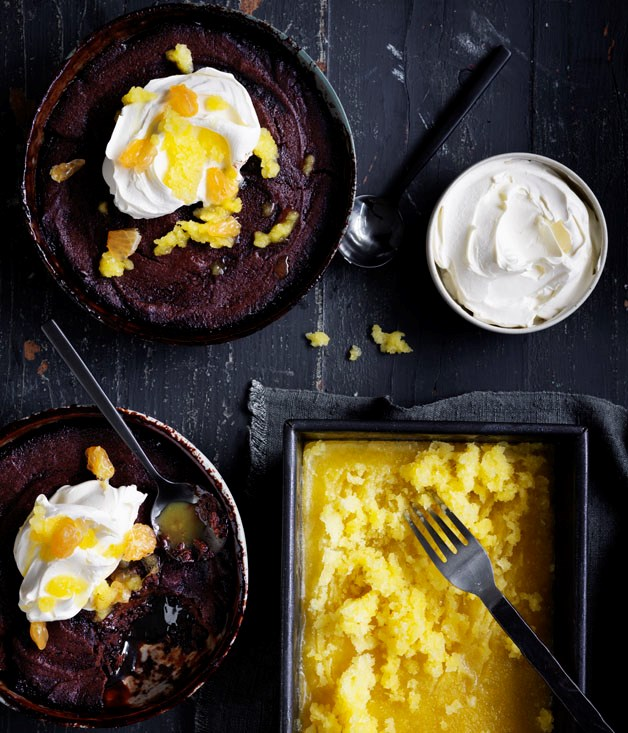 Choc-mandarin pudding with mandarin granita
