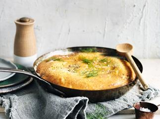 Parmesan, brown butter, fennel and leek frittata