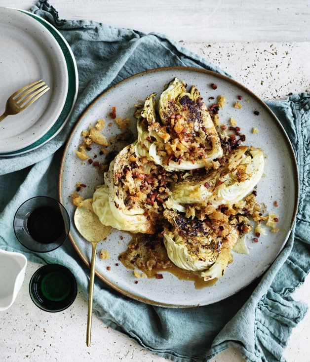 Cabbage with sake, brown butter crumbs and bacon