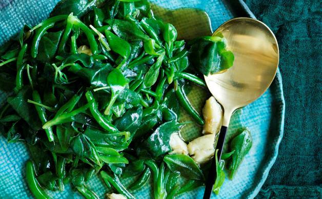Stir-fried Australian native greens