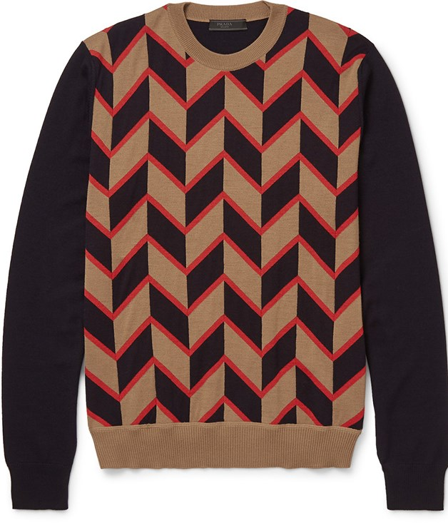**Prada jacquard-knit wool sweater** The geometric chevron pattern on this wool sweater, inspired by vintage styles, provides a sharp finish to any workday look when layered with a crisp white shirt. _Available from [mrporter.com](https://www.mrporter.com/), $1,084._