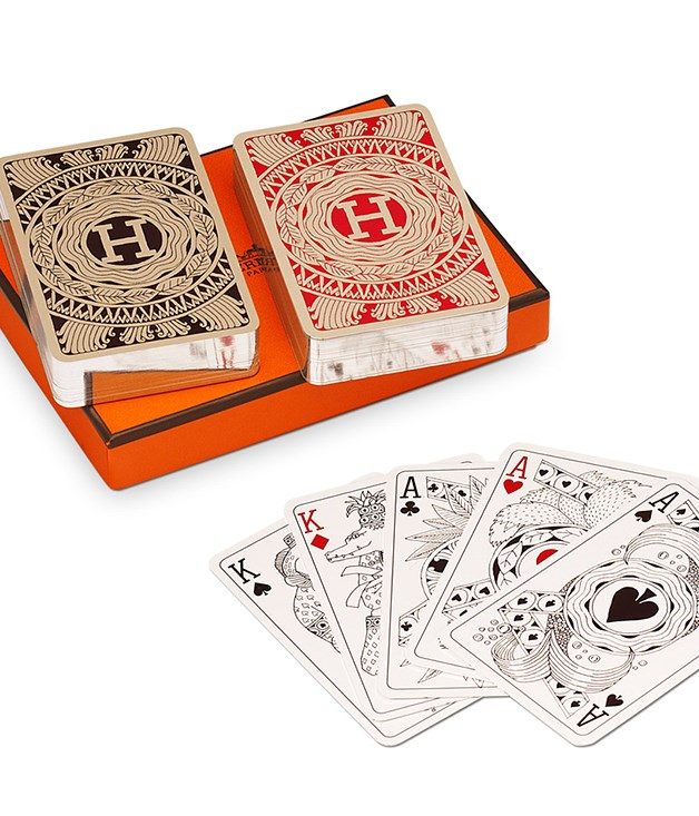 **Hermès bridge playing cards** These beautifully illustrated, silver-edged playing cards come with the Hermès guarantee of quality and that distinctive orange box, making them a classy addition to a weekly card night or the next family holiday. _Available from [hermes.com](http://www.hermes.com/index_au.html), $160._