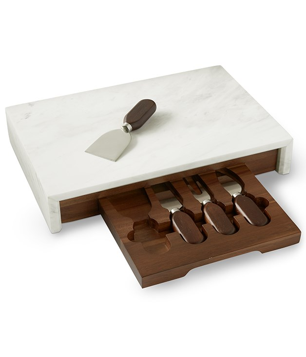 **Williams Sonoma cheese board** This elegant set features a solid acacia wood base with a nifty interior drawer that holds four stainless-steel knives with wood handles. Offset by a white marble top that also cascades down both sides, it's an effortlessly stylish entertaining piece. _Available from [williams-sonoma.com.au](https://www.williams-sonoma.com/),$130._