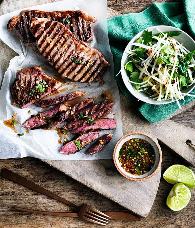 """[**Char-grilled sirloin with green papaya and jaew**](https://www.gourmettraveller.com.au/recipes/fast-recipes/char-grilled-sirloin-with-green-papaya-and-jaew-13663