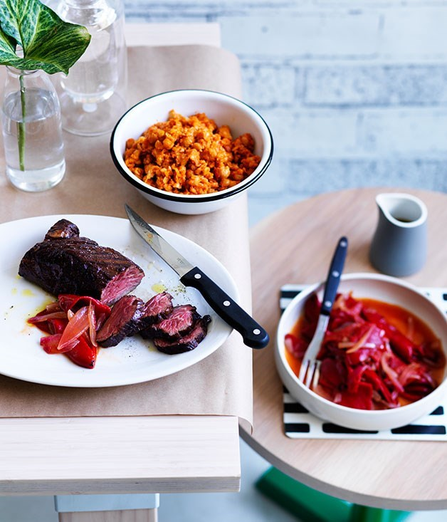 **Hanger steak with chickpeas, harissa and piquillo peppers**