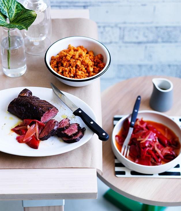"[**Hanger steak with chickpeas, harissa and piquillo peppers**](https://www.gourmettraveller.com.au/recipes/chefs-recipes/hanger-steak-with-chickpeas-harissa-and-piquillo-peppers-8009|target=""_blank"")"