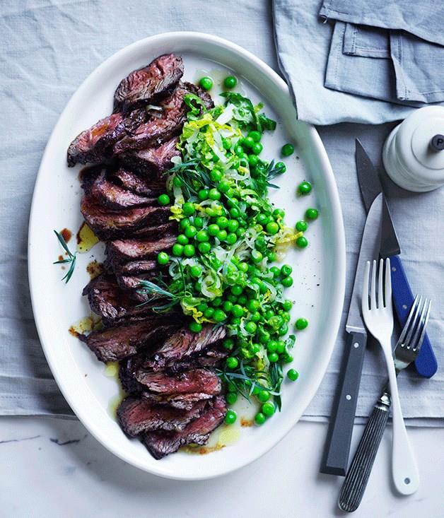 "[**Pepper hanger steak with peas and lettuce**](https://www.gourmettraveller.com.au/recipes/fast-recipes/pepper-hanger-steak-with-peas-and-lettuce-13757|target=""_blank"")"
