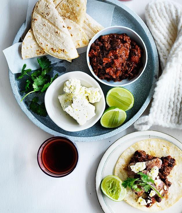 "[**Soft tacos with black bean mole and flank steak**](https://www.gourmettraveller.com.au/recipes/fast-recipes/soft-tacos-with-black-bean-mole-and-flank-steak-13581|target=""_blank"")"