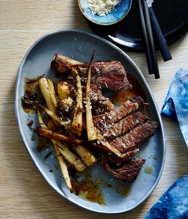 **Rib eye with roasted parsnips anchovies and horseradish**