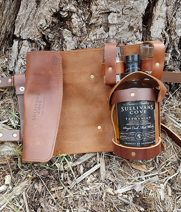 "**Sullivans Cove handmade whisky roll** This leather carrier, a collaboration between Tasmanian craftsman Mick ""Maka"" Kerkham and Hobart distillery Sullivans Cove, holds a bottle of whisky and two glasses snugly, making it the perfect camping or boating accessory. _Available from [sullivanscove.com](http://sullivanscove.com/), $170 with two glasses._"