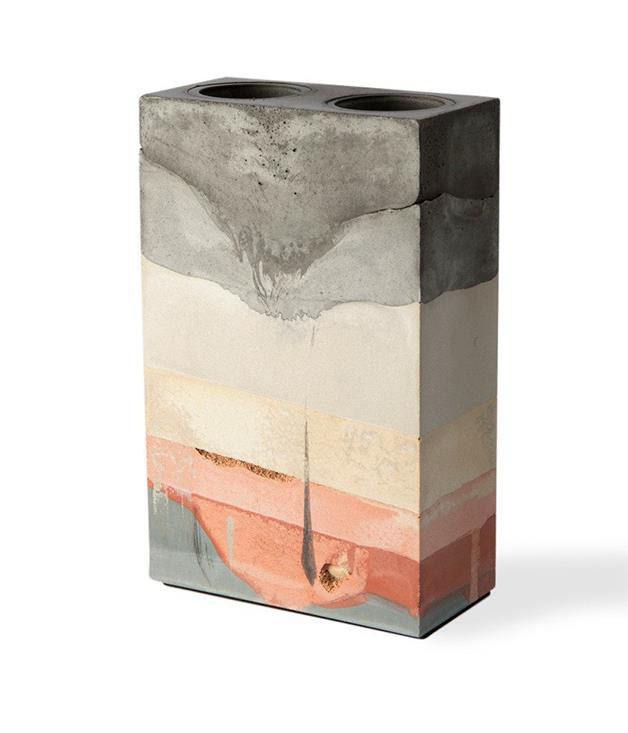 **Studio Twocan vase** Inspired by the Australian landscape, this organically crafted double-hole vase is made by sisters Becc and Maddie Sharrock of [Studio Twocan](https://www.studio-twocan.com.au/). Doubling as an artwork, the cement ornament includes a glass insert, making it suitable for holding water.  <br><br>*Available from [studio-twocan.com.au](https://www.studio-twocan.com.au/products/double-hole-vase-03), $295.*