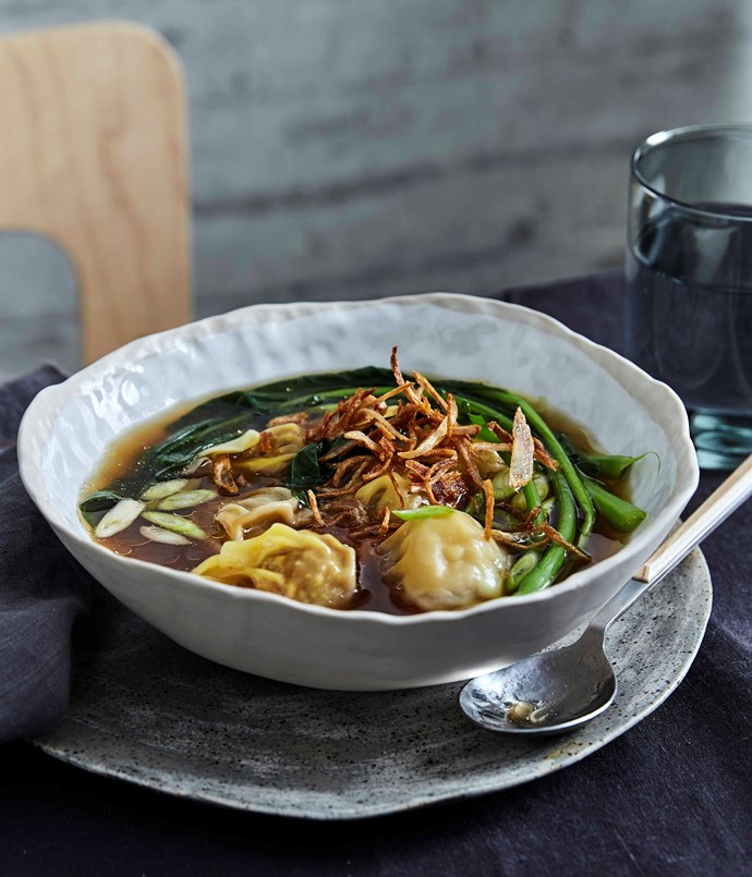 Shobosho's chicken and prawn wontons, chicken dashi and Chinese broccoli