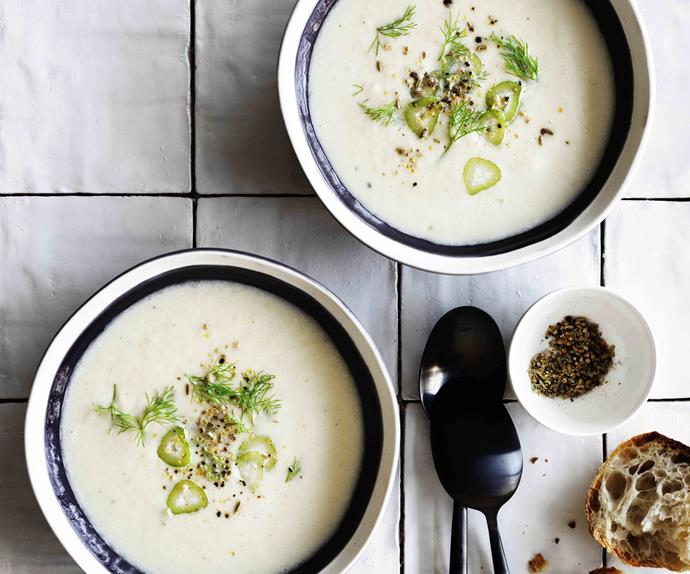 Fennel and leek soup with four spice