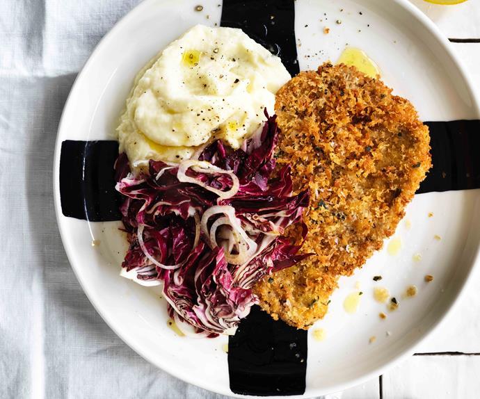 Pork schnitzel with parsnip mash