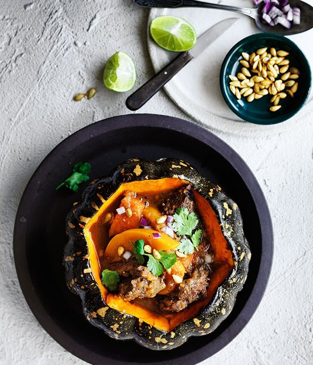 South American beef and pumpkin stew with roasted pumpkin seeds