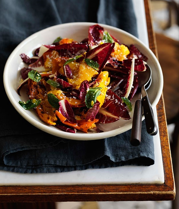 "[**Roast pumpkin with radicchio ricotta salata, chilli and lemon**](https://www.gourmettraveller.com.au/recipes/chefs-recipes/roast-pumpkin-with-radicchio-ricotta-salata-chilli-and-lemon-7846|target=""_blank"")"